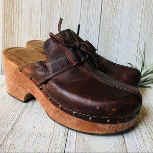 Vintage Leather & Wooden Clogs
